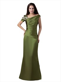Olive Green Sheath Asymmetrical Neckline Prom Dress With Beaded Straps
