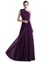 Grape Chiffon One Shoulder Keyhole Detail Bridesmaid Dresses With Bow