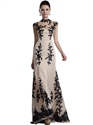 Champagne Mermaid Lace Applique Illusion High Neckline Prom Dress
