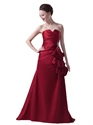 Burgundy Strapless Beaded Lace Up Back Prom Dress With Side Peplum