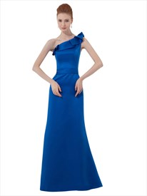Simple Royal Blue Sheath One Shoulder Ruffled Neckline Bridesmaid Dress