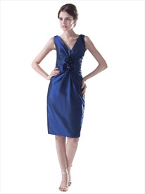 Royal Blue Taffeta Knee-Length Bridesmaid Dresses With Flower Detail