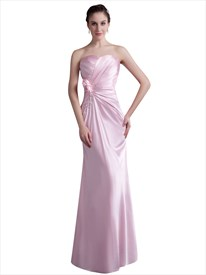 Pink Sweetheart Sheath Bridesmaid Dress With Flower And Beaded Detail