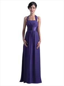 Elegant Purple Halter Neck Chiffon Bridesmaid Dress For Beach Wedding