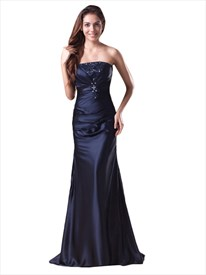 Navy Blue Strapless Beaded Neckline Mermaid Prom Dress