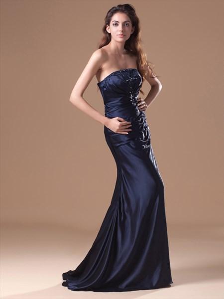 Navy Blue Strapless Beaded Neckline Mermaid Prom Dress