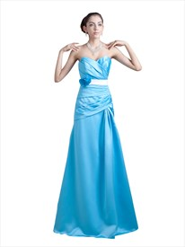 Blue Sweetheart Dropped Waist Long Bridesmaid Dresses With Flower Sash