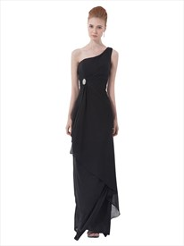 Black Chiffon One Shoulder Bridesmaid Dresses With Cascading Detail