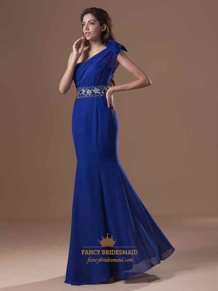 Royal Blue Chiffon One Shoulder Mermaid Prom Dress With Beaded Wasit
