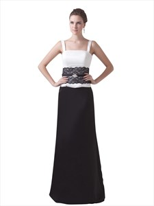 Black And White Spaghetti Strap Dropped Prom Dresses With Lace Detail