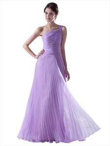 Lilac One Shoulder Crinkle Organza Bridesmaid Dress With Ruched Bodice