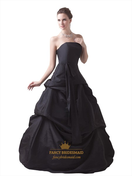 Black Strapless Lace Up Back Taffeta Prom Dress With Pick Up Skirt