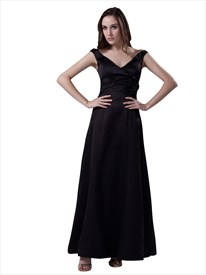 Black V Neck Sleeveless Ankle Length Bridesmaid Dress With Flower Detail