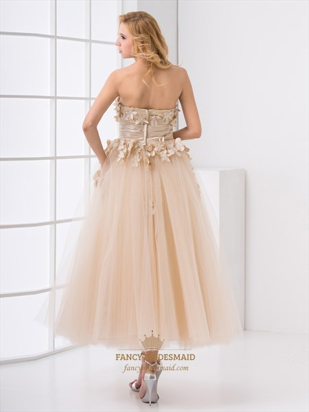 Champagne Ankle Length Tulle Prom Dress With Lace And Floral Bodice