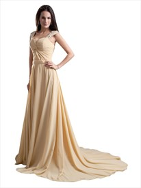 Champagne Sweetheart Sweep Train Chiffon Prom Dress With Beaded Straps