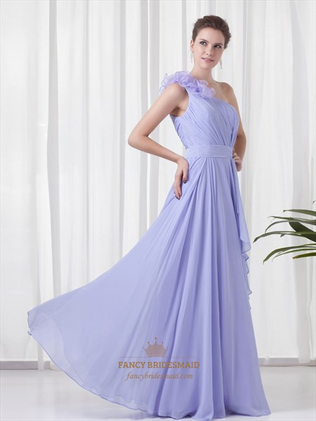 Lavender One Shoulder Flower Strap Bridesmaid Dresses With Cascading