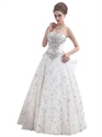 Ivory Lace Fully Beaded Strapless Wedding Dress With Big Bow On Back
