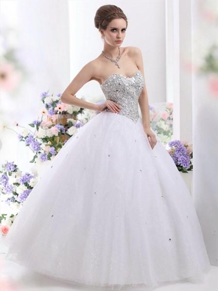 White Sweetheart Neckline Sequin Bodice Wedding Dress With Rhinestones