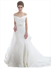Ivory Lace Mermaid Off The Shoulder Wedding Dress With Tulle Overlay