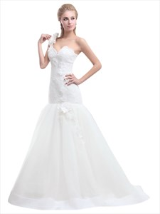 Ivory One Shoulder Flower Strap Mermaid Lace Bodice Tulle Wedding Dress