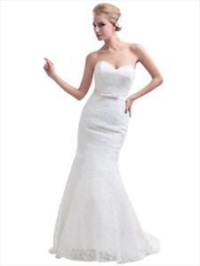 White Lace Mermaid Sweetheart Lace Up Back Wedding Dress With Pink Sash