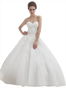 Ivory Ball Gown Lace Bodice Tulle Skirt Wedding Dress With Flower Detail
