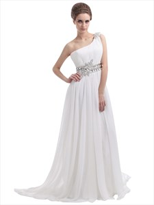 Ivory One-Shoulder Chiffon Sweep Train Beach Wedding Dress With Beading