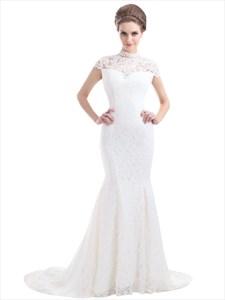 Ivory Lace Mermaid Illusion Neckline Wedding Dress With Cap Sleeves