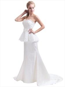 Ivory Lace Bodice Taffeta Two Tone Sweetheart Mermaid Wedding Dress