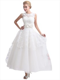Ivory Lace Bodice Tulle Ankle Length Wedding Dresses With Keyhole Back