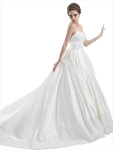 Ivory Sweetheart Strapless Lace Bodice Wedding Dress With Flower Sash