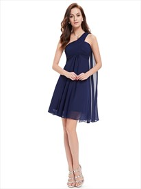 Navy Blue One Shoulder Chiffon Short Bridesmaid Dress With Watteau Train