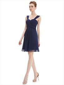 Navy Blue Chiffon Ruched Bodice Short Bridesmaid Dress With Straps