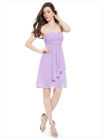 Lilac Chiffon Strapless Sweetheart Bridesmaid Dresses With Ruffle Detail