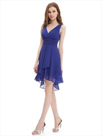 Royal Blue V Neck Asymmetrical Hem Short Chiffon Bridesmaid Dresses
