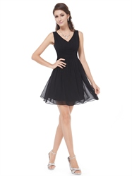 Chic Black V Neck Sleeveless Chiffon Short Little Cocktail Dress