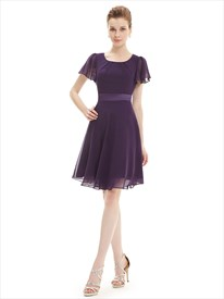 Grape A Line Scoop Neck Chiffon Short Bridesmaid Dresses With Sleeves