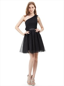 Little Black One Shoulder Tulle Short Cocktail Dress With Bow