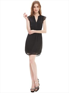 Black Chiffon Summer Women'S Semi Formal Dresses With Cap Sleeve