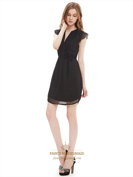 Black Chiffon Summer Women'S Semi Formal Dresses With Cap Sleeve