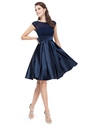 Navy Blue Knee Length Chiffon And Satin Cocktail Dress With Cap Sleeves