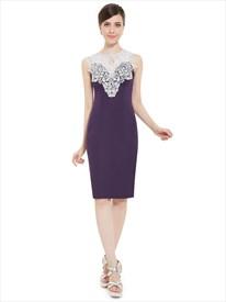 Grape Knee Length Sheath Cocktail Dresses With Lace Embellishment
