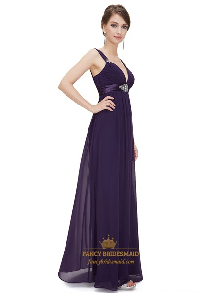 Grape V Neck Chiffon Empire Bridesmaid Dresses With Beaded Waistband