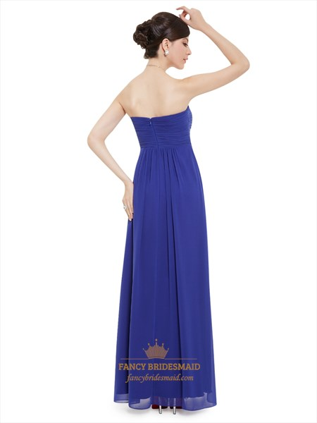 Royal Blue Chiffon Sweetheart Empire Bridesmaid Dresses With Twist Front