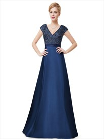 Navy Blue Sleeveless V Neck Sequin Bodice Evening Dress With Cap Sleeves