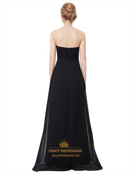Black Strapless Ruched Bodice Bridesmaid Dress With Beaded Waist