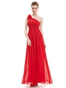 Red One Shoulder Flower Strap Chiffon Floor Length Bridesmaid Dresses