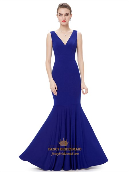 Elegant Royal Blue Mermaid V Neck Sleeveless Floor Length Evening Gown