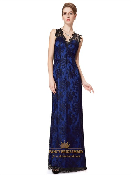 Royal Blue And Black V Neck Lace Overlay Prom Dresses With Keyhole Back