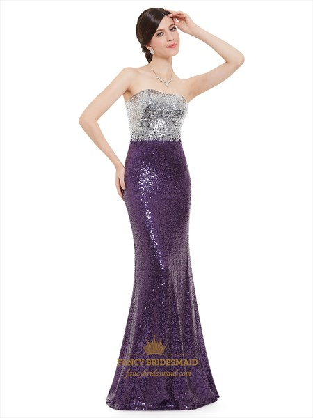 Purple And Silver Strapless Mermaid Sequin Floor Length Prom Dress